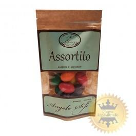 Almonds in black and white chocolate with fruity flavors Assortito, 60g