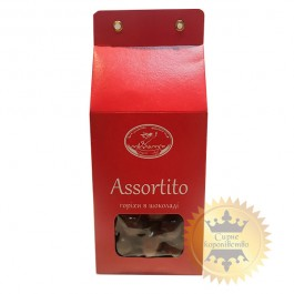 Almonds and hazelnuts in black and milk chocolate Assortito, 100g